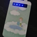 J4N-4000mAHオリジナルモバイルバッテリー インジケータ(充電残量表示)有り 白 片面プリント
