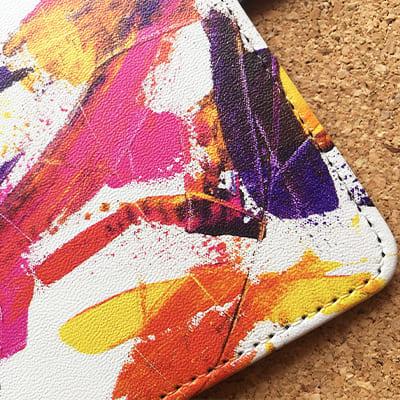 オリジナル【iPhone/Andoroid共通】手帳ケース 角ベルト付き(汎用マルチスライド式パーツ)L